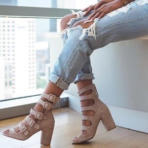 Chinese Laundry Taupe Multi Buckle Heels
